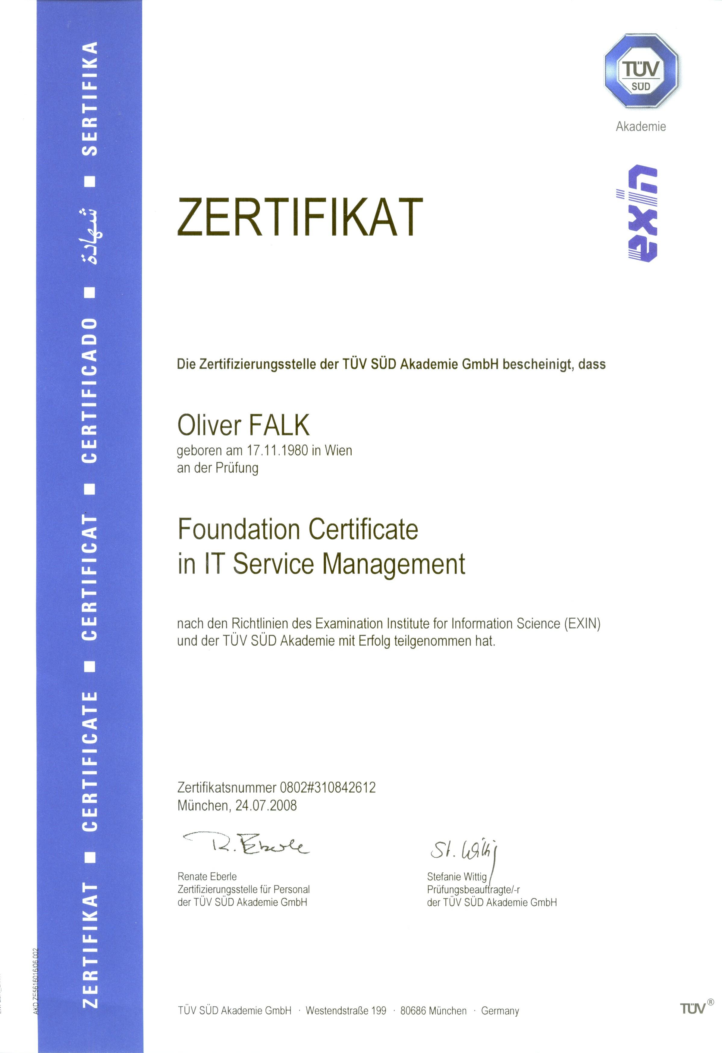 Personal information oliver falk 2008 itil foundation certificate xflitez Gallery